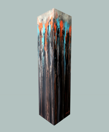 totem: orange, blue-green on black